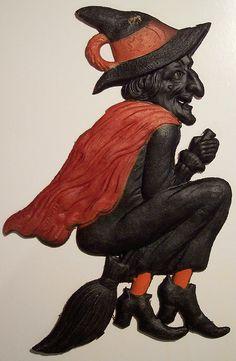 Vintage German Halloween Diecut Witch, via Flickr.
