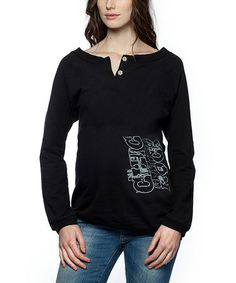 Loving this Black Graphic Jogging Maternity Sweater on #zulily! #zulilyfinds
