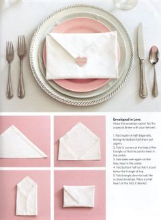 How To Make Table Napkin Designs creative and simple fathers day ideas for party table will help brighten up your dining room folding napkinspaper Envelope Napkin Fold Finished With A Heart Napkin Foldingnapkin Ringswedding Tablewedding