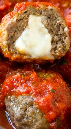 Mozzarella Stuffed Meatballs ~ A fun twist on the classic recipe – serve these meatballs as a party appetizer or over a big plate of spaghetti for a hearty meal!