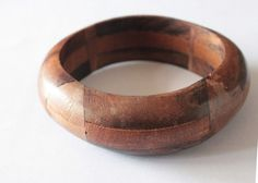 Brown ethnic wood bracelet Wooden Jewelry Natural by ANNEOLA, $12.00
