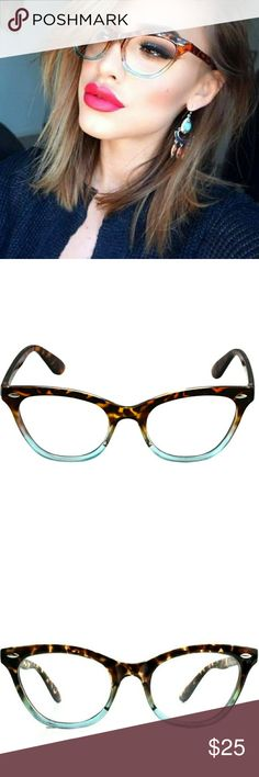 Sexy Girls only! Tortoise ombre light blue NO RX These Non RX glasses are Cute, sexy, chic, and classic!  Wear them back to school, to work, on a date, at the library! Everywhere they are so sexy with makeup to!! First come first served!  these are a brand new pair!  You can also take these to your eye Dr. And have prescription lenses put in them!  Accessories Glasses