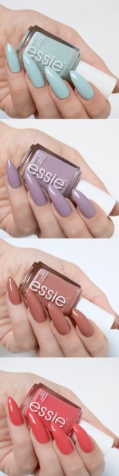 Love the first mint blue one // Essie Resort 2017 swatches Manicure Quotes, Manicure And Pedicure, Almond Shape Nails, Almond Nails, Essie Nail Polish, Nail Polishes, Garra, Nude Nails, Trendy Nails