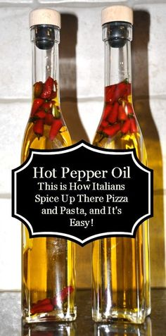 Homemade Hot Pepper Oil - doesn't really need instructions - but this is a genius idea, we use it often at pizza places to spice things up a bit. Hot Pepper Oil Recipe, Hot Pepper Recipes, Hot Sauce Recipes, Hot Peppers In Oil Recipe, Spicy Oil Recipe, Hot Oil Recipe, Tuna Recipes, Flavored Oils, Infused Oils