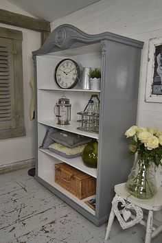 This curvaceous shabby chic beauty would be the star of any living room or kitchen! We love its arched top and pretty detail. We've painted in Farrow & Ball Plummet with All White inside and lightly distressed. http://www.thetreasuretrove.co.uk/cabinets-and-storage/arch-top-shabby-chic-rustic-bookcase