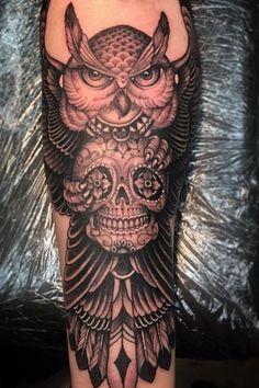Owl sugar skull tattoo
