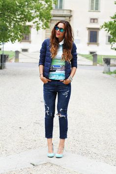blue jeans and heels casual fashion outfit fall winter 2013 2014 h&m / comptoir des cotonniers / sarenza  www.ireneccloset.com fashion blog