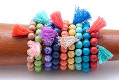 Beaded Stretch Bracelet Gemstone Stretch by PiscesAndFishes Garnet Bracelet, Tassel Bracelet, Yoga Jewelry, Stretch Bracelets, Gemstone Beads, Rainbow, Bright, Gemstones, Unique
