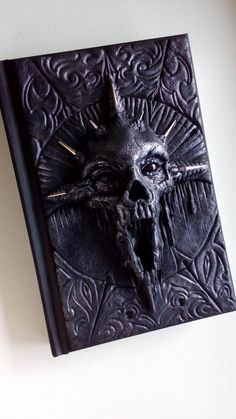 Goth silver skull Polymer clay journal notebook by ClaymanShop