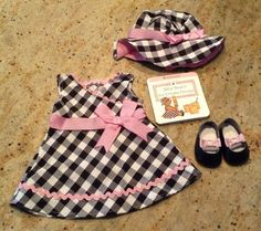 American Girl Doll Brand New Bitty Baby Gingham Party Dress,Hat,shoes & book
