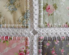 Fusion quilt Patchwork with crochet border Tilda quilt