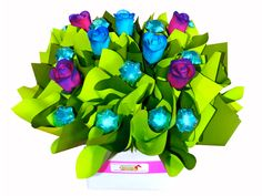 Blue Violet, Rose and Chocolate Bouquet