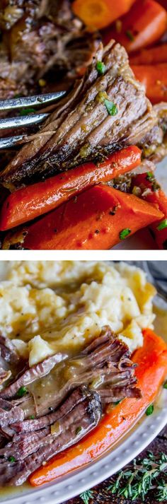 Easy Fall-Apart Pot Roast with Carrots (Slow Cooker) from The Food Charlatan