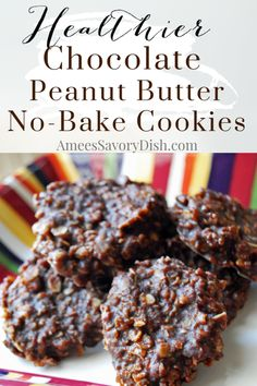 This healthier chocolate peanut butter no-bake cookies recipe is made with better ingredients, but still crazy delicious! Betcha can't eat just one! Finger Desserts, Cold Desserts, Homemade Desserts, Chocolate Oatmeal, Healthy Chocolate, Peanut Butter No Bake, Chocolate Peanut Butter, Baking Recipes, Dessert Recipes