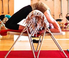 Kapotasana prep with a chair and blanket (Iyengar Yoga)
