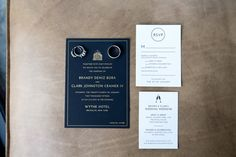 Classic navy + white invites and RSVP's with gold accents for a vintage, retro wedding at the Wythe Hotel in Brooklyn, NY. Photographed by Steadfast Studio.