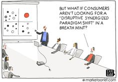 """Marketers are full of buzzwords, particularly when talking about innovation. Even the term """"innovation"""" is a cliché in danger of losing its meaning. Cartoon by Tom Fishburne Marketing Articles, The Marketing, Digital Marketing, Inbound Marketing, Content Marketing, Online Marketing, Humor, Business Cartoons, Disruptive Innovation"""