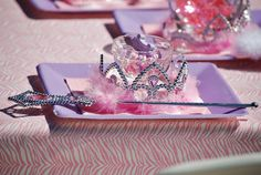 Princess party table settings - wand, tiara, Disney Princess candy necklace set.