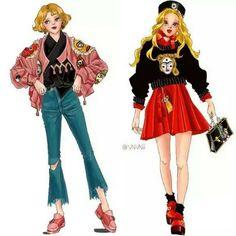 저 자켓한복 탐난당 오른쪽도 다 이쁨 #한복일러스트 #VNVNii작가님 #변신 #한복스타그램 #style #fashion