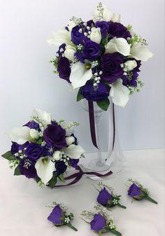 Purple Roses Wedding, Rose Wedding Bouquet, Calla Lily, Floral Wreath, Wreaths, Bridal, Flower Crowns, Door Wreaths, Bride