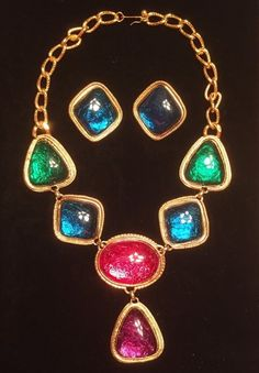 Kenneth Jay Lane Collection Avon Multicolor Cabochon Necklace Earring Set Runway…