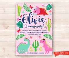 Girls dinosaur party invitation Girls party Invitation
