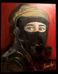 This portrait that I nammed 'hero' is for Subcomandante Marcos ; the leader of the Zapatista Army of National Liberation.. He is as a post-modern and new Che-Guevara fighting against Imperialism and the misery of people..  I prefer to paint his portrait because  nowadays I think  the world needs these kind of volunteers ; honest, brave men to protect  democracy,  freedom and justice..With my thanks to this peaceful warrior.. Hasta la victoria siempre!