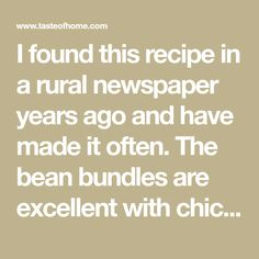 I found this recipe in a rural newspaper years ago and have made it often. The bean bundles are excellent with chicken or beef. Sometimes I'll arrange them around a mound of wild rice to make an appetizing side dish. —Virginia Stadler, Nokesville, Virginia Easy Christmas Dinner, Christmas Appetizers, Christmas Goodies, Christmas Baking, Christmas 2019, Christmas Trees, Vegetable Salad, Vegetable Dishes, Green Bean Bundles