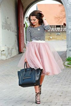 How dreamy is this tulle and striped combo?!