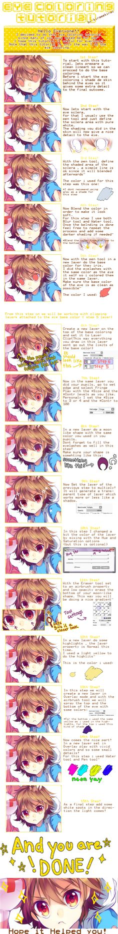 Eye Coloring Tutorial - Paint Tool SAI by KirameKirai.deviantart.com on @deviantART
