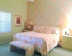 80s bedroom with wallpaper