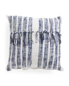 Made In India 20x20 Tyler Stripe Tassel Pillow - Decorative Pillows - T.J.Maxx