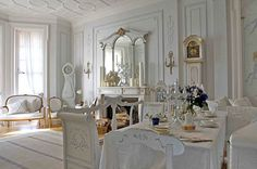 white dining room furniture in beidermeir style