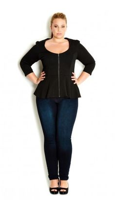 Plus Size Zip Peplum Frill Jacket - City Chic - City Chic