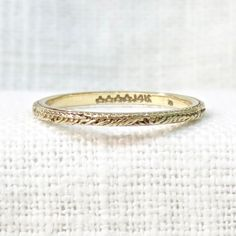 Vintage Wedding Ring in 14k Yellow Gold; Thin and Delicate Engraved Wedding Band; Unique Wedding; Gold Stacking Ring; Estate Jewelry by MagpieVintageJewelry on Etsy
