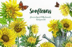Sunflowers Clipart, Yellow flowers sunflower,