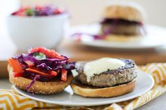 Thai Turkey Burgers with curry yogurt sauce   http://www.theroastedroot.net ~ serve w/o the bun for a low carb option