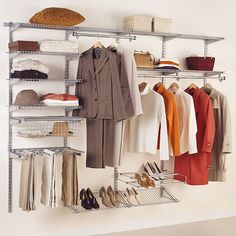 Rubbermaid Configurable 4' to 8' Closet Kit, Titanium - not sure this will work in apt. closet with built in shelf above rod . . . will have to see.  also need to configure so there's a long hanging area for dresses.  Short handing area for pants/skirts.  many shelves for bulky, towels, and sheets