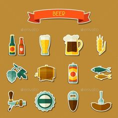 Beer Sticker Icon And Objects Set For Design