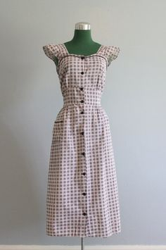 Vintage Dress / 1940s Alphabet Dress / 40s Pinafore by HolliePoint