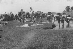 1941, Biélorussie, Toilette pour ces soldats Allemands dans une rivière