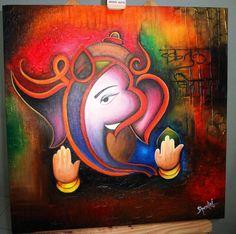 Modern Art ganesha Acrylic on Canvas http://www.facebook.com/SheetalPaintings
