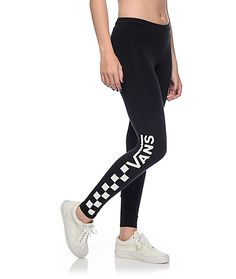 Upgrade your athletic style with the Chalkboard black leggings from Vans. These black stretchy leggings features a screen printed logo and checkerboard graphic on the right leg. Grab these leggings and set the standard for style in your squad.