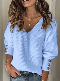 Shopping Casual V-neck Solid Color Sweater online with high-quality and best prices Sweaters at Luvyle. Warm Sweaters, Casual Sweaters, Pullover Sweaters, Sweaters For Women, Knit Sweaters, V Neck Sweaters, Cheap Sweaters, Knit Socks, Loose Sweater