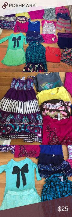Girls clothes Bundle My daughter out grew these clothes. There is 2 dresses, 5 shirts, 3 outfits. There's a few justice pieces in this Bundle. The hello kitty dress has a few spots which I included in the pics. There's one pajama shirts and 1 Capri yoga pants. 1 hoodies. S 2 leggings. Total 20 pieces in this bundle. GrAt deal. Sizes 6,7,8,10.  Most of these items are stretchy. Shirts & Tops Button Down Shirts