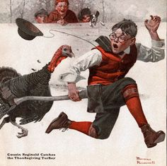 Cousin Reginald Catches the Thanksgiving Turkey by Norman Rockwell (1917)