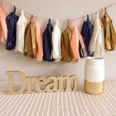 Tassel Garland || Peach, Navy, Gold, and Cream || Party Decor on Etsy, $20.00