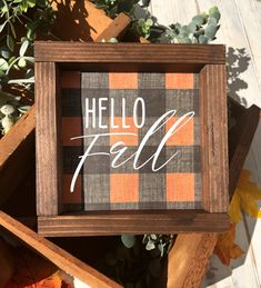 Hello Fall Buffalo Check Sign, available from up to perfect for a tiered tray sign or a wall sign. Fall Wood Signs, Fall Signs, Wooden Signs, Autumn Crafts, Holiday Crafts, Fall Halloween, Halloween Crafts, Crafts To Do, Wood Crafts