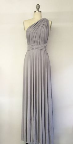 Silver Light Grey Long Maxi Infinity Dress Gown by AtomAttire