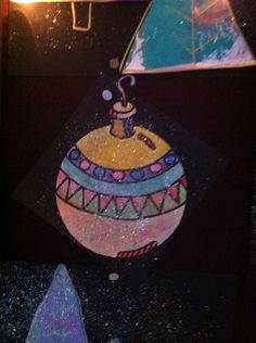 Kerstbal met waterverf en glitter